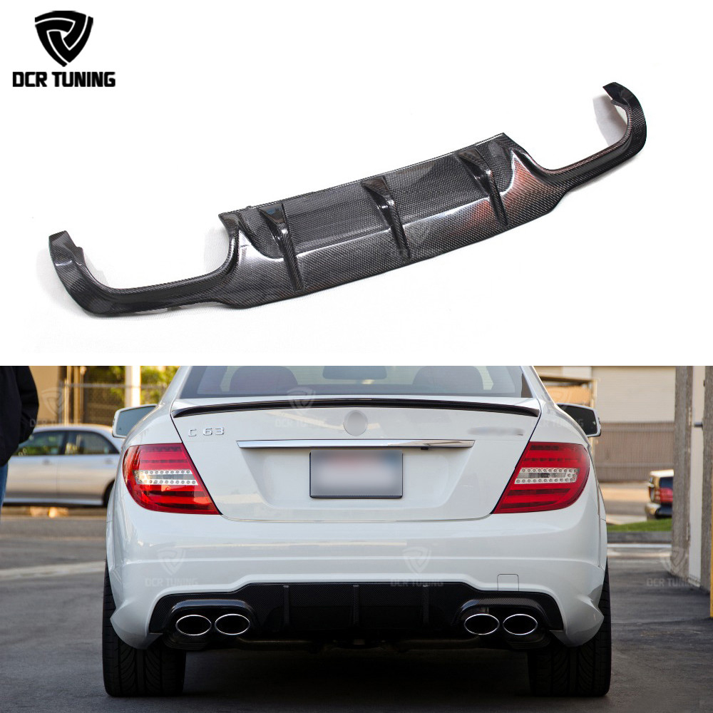 For Mercedes Benz W204 C Class C180 C200 C250 C350 2012 2013 2014 C63 Amg Carbon Fiber Rear Bumper Diffuser