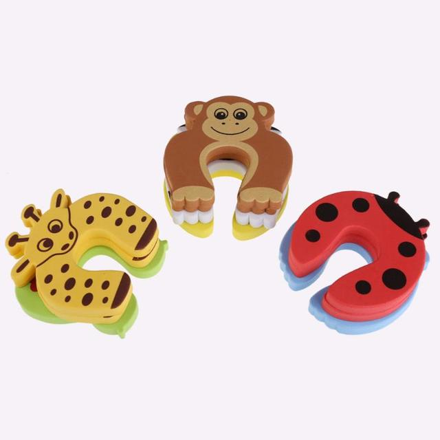 5Pcs/Lot Baby Newborn Care Child Lock Protection From Children Protection Baby Safety Cute Animal Security Card Door Stopper
