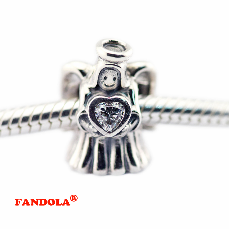 Fits Pandora Charms Bracelets Angel of Love Thread Charm Beads with Clear Cubic Zirconia 925 Sterling-Silver-Jewelry FL489