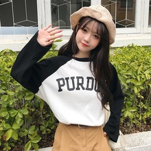 2019 New Women Letters Print Patchwork Tshirt Autumn Long Sleeves T-shirt Womens Tops Korean Style Casual O Neck Loose