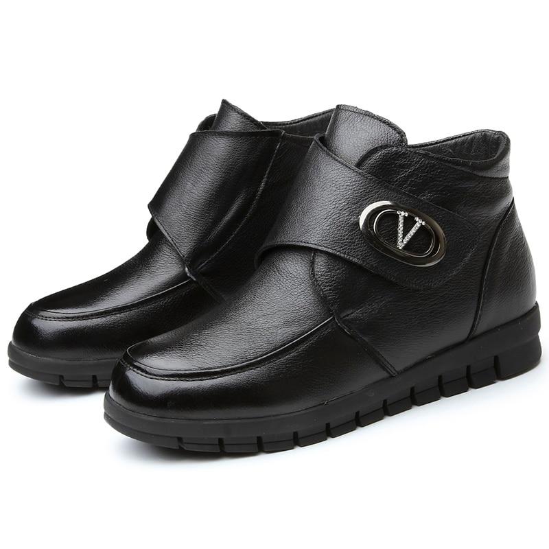 d 39 hiver cuir la chaud chaussures femme en noir neige mode. Black Bedroom Furniture Sets. Home Design Ideas