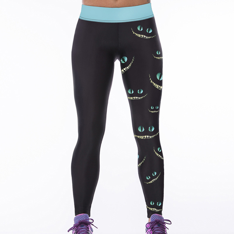 Fitness Leggings South Africa: Slim Fit Eyes Print Stretch Elastic Fitness Leggings Women