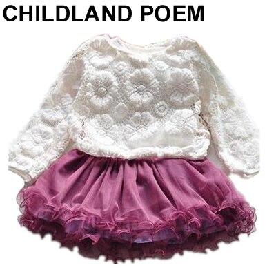 2016 autumn Baby Girl clothes sets lace baby set cake tutu Dress Baby kids Set Vestido mesh Newborn Baby Girl Clothing Set 2pc