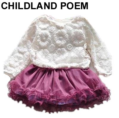 2016 del otoño Del Bebé arropa los sistemas de encaje bebé set pastel tutu dress bebés niños set vestido de malla ropa de bebé recién nacido conjunto 2 unid