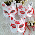 1 Piece Half Face Hand Painted Red Lotus Pattern Japanese Style Fox Kitsune Cosplay Face Mask for Party Halloween