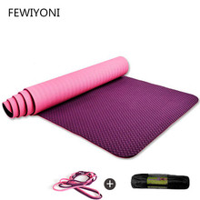 FEWIYONI 183*80*0.6CM TPE Yoga Mat Anti Slip Sports Fitness Exercise Pilates Gym Colchonete For Beginners With Yoga Bag printed yoga mat travel mat 183 61 0 15cm anti slip foldable yoga pilates pad exercise mats for gym fitness sports dance cover