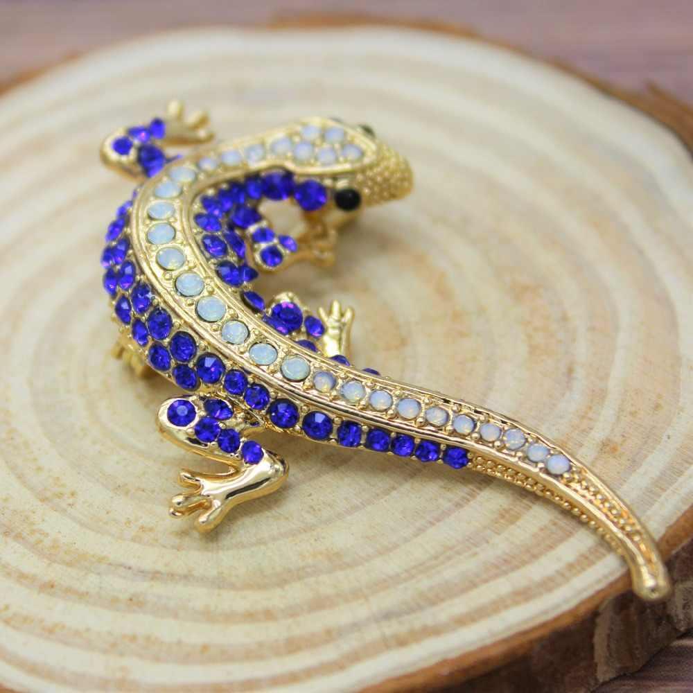 Pinos lagarto broche para a camisa feminina bonito prata presentes moda jóias de metal bonito pino conjunto esmalte strass jóias gecko wicca
