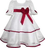 Girls Dress Red Rose Bow Tie Lace Formal Party Long Sleeve 4 10