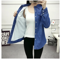 New autumn and winter plus thick velvet long sleeved denim shirt female shirt big yards cultivating cotton warm coat