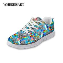 WHEREISART Animal Cat Prints Women Shoes 2019 Summer Breathable Sneakers Ladies Flats Walking Girls Zapatos de Mujer