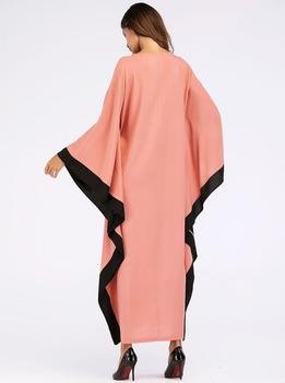 Arab elegant loose abaya kaftan islamic fashion muslim dress clothing design women bat sleeve dubai abaya Robe 1