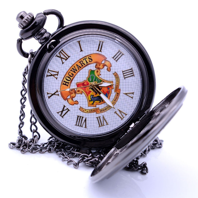Vintage Bronze/Black Harry Potter Hogwarts School H Color Quartz Pocket Watch An