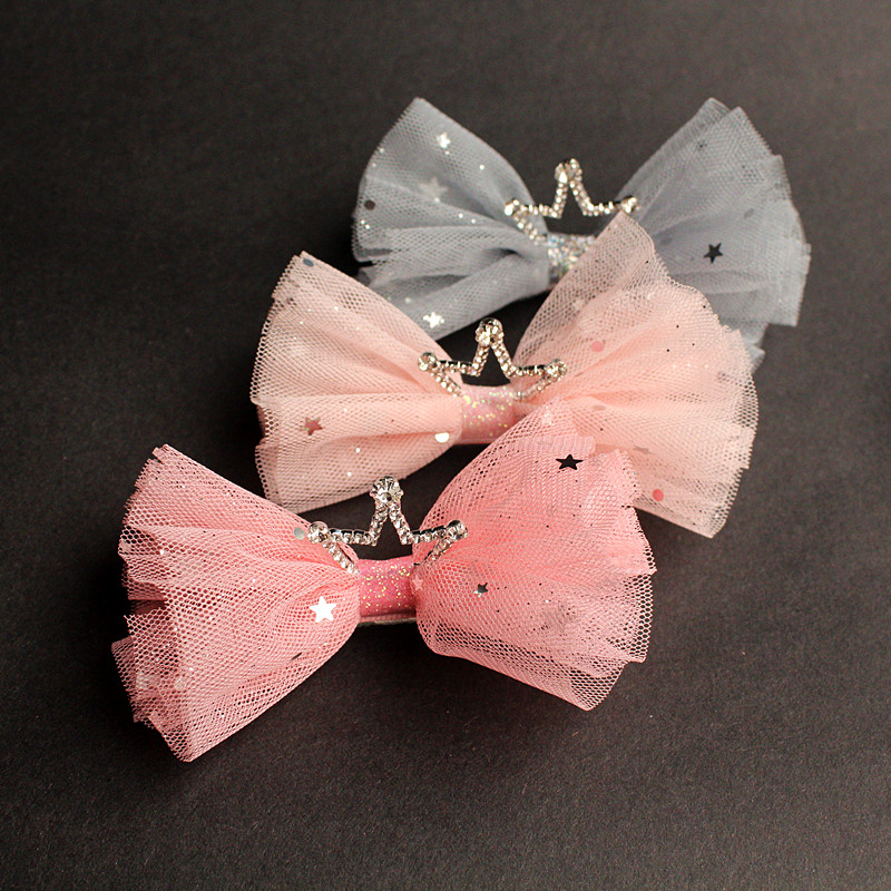 Luxury QualityHairpin 12PCS LOT Modish Girls Gauze Kid Hair Clip Bowknot Big Size Bubble Bows Hair