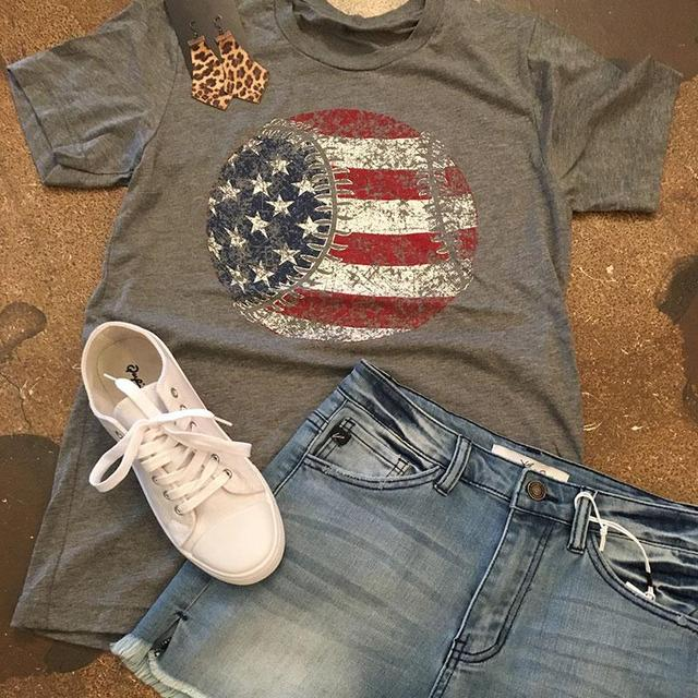 AMERICAN FLAG BASEBALL T-SHIRT