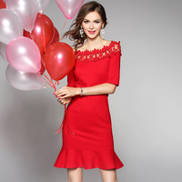 Cute Dress Red 2017 NEW High Quality Europe Spring Autumn Women Clothing Embroidery Mini Dress S