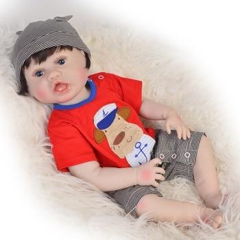 DollMai 57CM Bebes Reborn Menino Full Body SIlicone boy Reborn baby dolls Bath Toy gift for child birthday gift