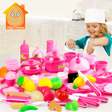 Classic Cooking Toys For Children 54PCS Pretend Play Cutting Food Set Kids Kitchen Educational Toy Play House Toys For Girls(China)