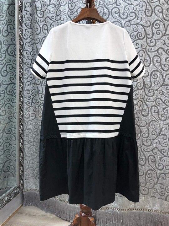 Noir Col Bande Mosaïque Robes Et Manches Rond Nouvelles 2019 Printemps Courtes Femmes Broderie 0320 D'été De AZwpqTx
