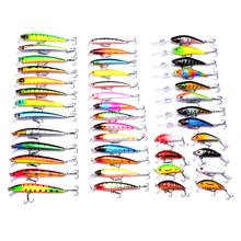 YUZI 43pcs mixed hard plastic minnow fishing lures pike wobble bass carp trout peche baits pesca tackles
