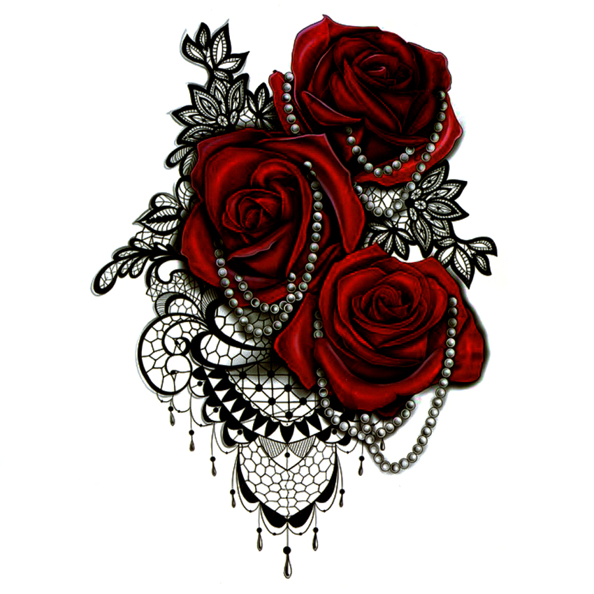 Big Red Rose Waterproof Temporary Tattoos Men Tatuajes Temporales Necklace Harajuku Fake Tattoo Body Feminino Seleeve Tatoo