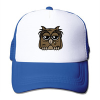 Summer Unisex Smoking Owl polyester Mesh Hat Vintage Graphic Printed baseball Hats Adjustable Snapback