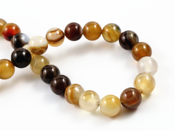 8mm 45pcs/string Natural Coffee Colors Lines Stone Special Stone Round Beads For Jewelry Making Wholesale And Retail-M7-07