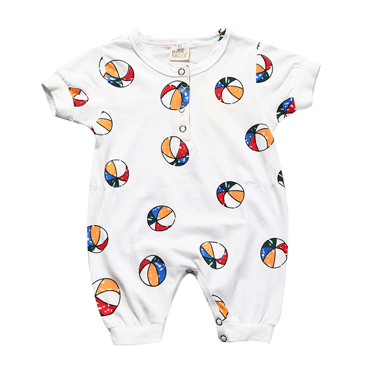 Bobo Choses Hot Sale Baby Boy Clothes Fashion Ball Printing Short Sleeve Baby Boy Jumpsuits Summer Baby Girls Rompers
