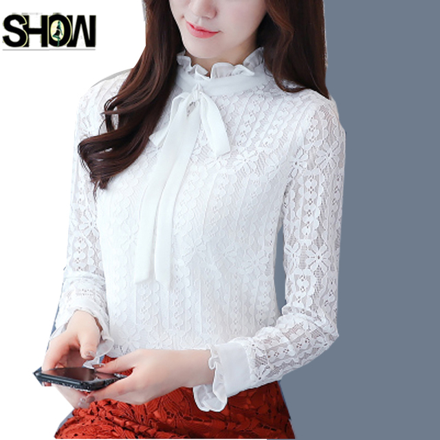 8735b810bef55 White Black Lace Blouses Shirts New Women Fashion Long Sleeve Cute Sweet  Crochet Lace Top Office