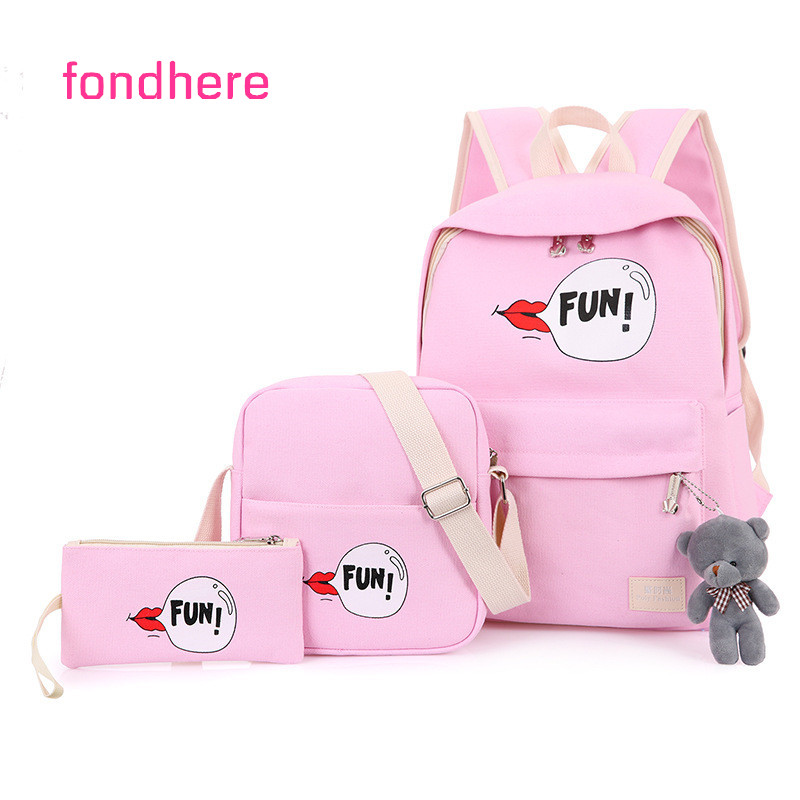 fondhere 3 Pcs/set 2017 Women Canvas Backpack Set FUN Lips Printing School Bags For Teenagers Girls Bookbags With Cute Bear