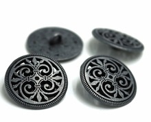 20pcs 17mm&23mm Silver Tone Hollow Pattern Shank Sewing Metal Buttons DIY Sew On Jeans Cloth Round Scrapbook Decoration