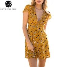 Лили Rosie девушка Для женщин 2018 глубокий v-образным вырезом Sexy Boho Стиль Для летних вечеринок мини-платье цветочный Повседневное печать с коротким Пляжные наряды Vestidos