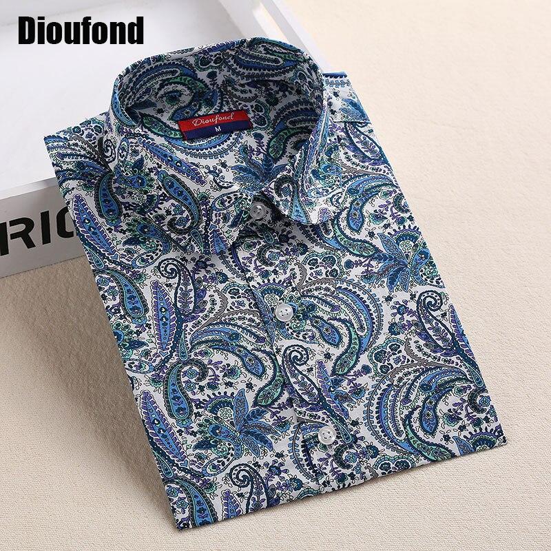Dioufond Bohemia Kadınlar Bluzlar Uzun Kollu Gömlek Kadın Yaz Turn - Bayan Giyimi - Fotoğraf 3