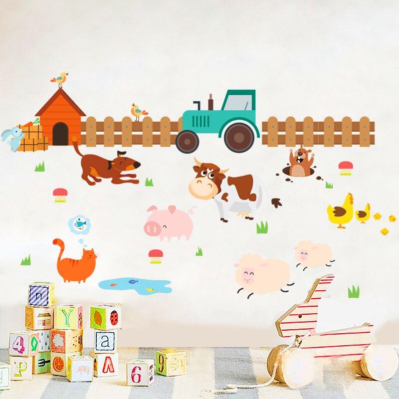 Trabajador de granja perro gato oveja vaca pared pegatinas para habitaciones de niños, Decoración de casa de dibujos animados calcomanías para pared de animales arte afiches de PVC diy mural