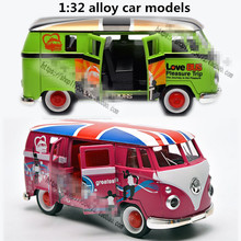 1:32 alloy car models,high simulation Volkswagen wagon,metal diecasts,toy vehicles,pull back & flashing &  musical,free shipping