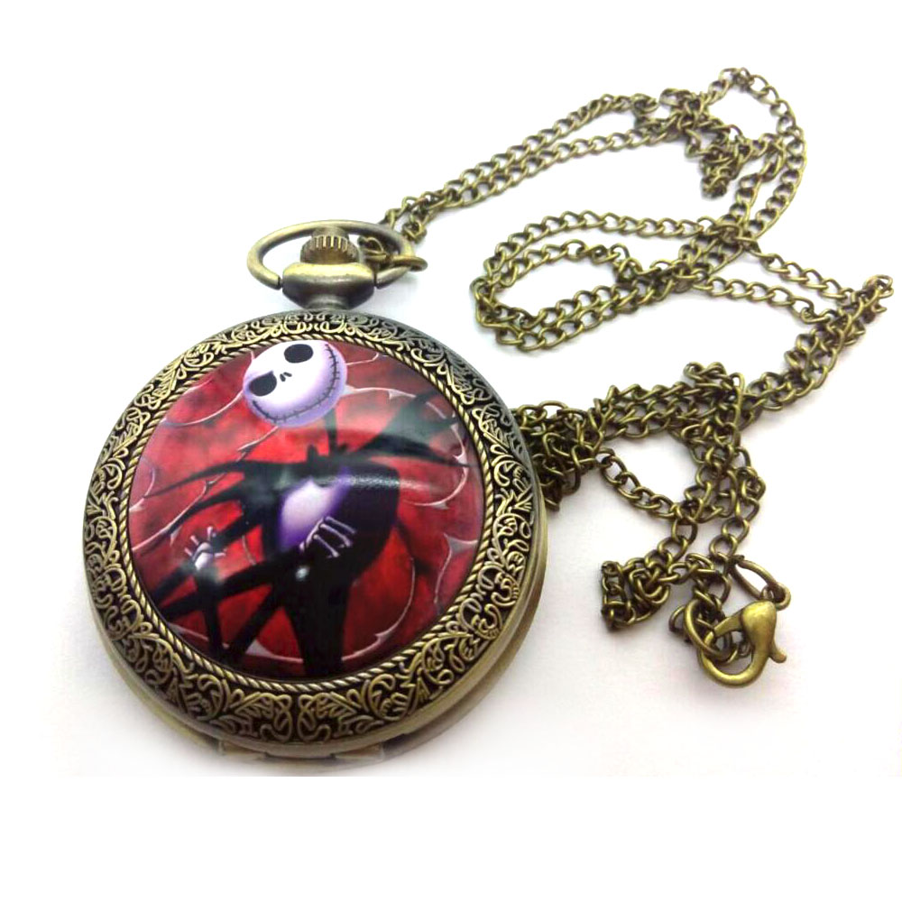 Ernest Saves Christmas Enamel Pattern Bronze Antiques Modern Hours Necklace Pocket Watches Gift