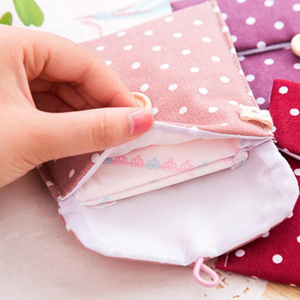 1 StÜck Kleine Baumwolle Weibliche Hygiene Damenbinden Geldbörse Fall Dot Brieftasche Tasche Ausreichende Versorgung