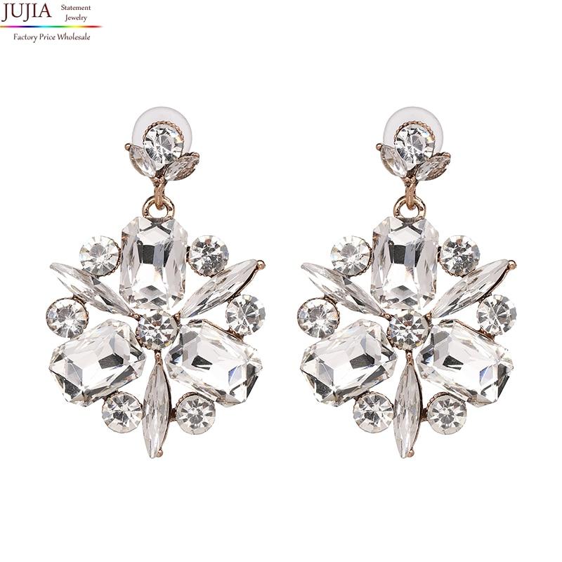 JUJIA 2019 New Trend fashion hot sale women full crystal earrings vintage statement Earrings for women wholesale oorbellen