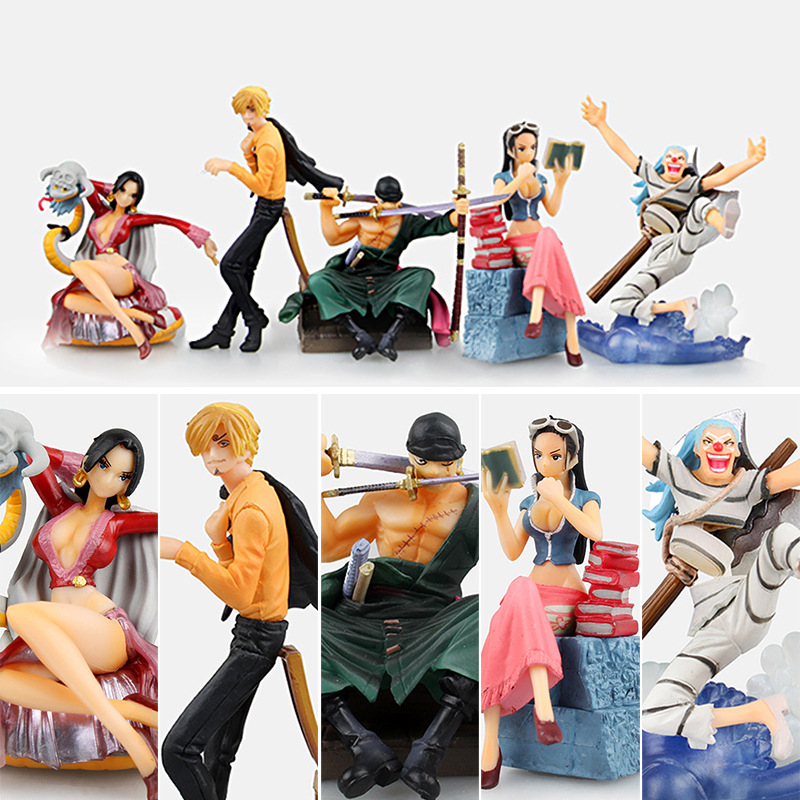 ФОТО Free Shipping One Piece Anime Hancock Sanji Zoro Robin Buggy The 2nd Boxed PVC Action Figures Collection Model (5pcs per set)