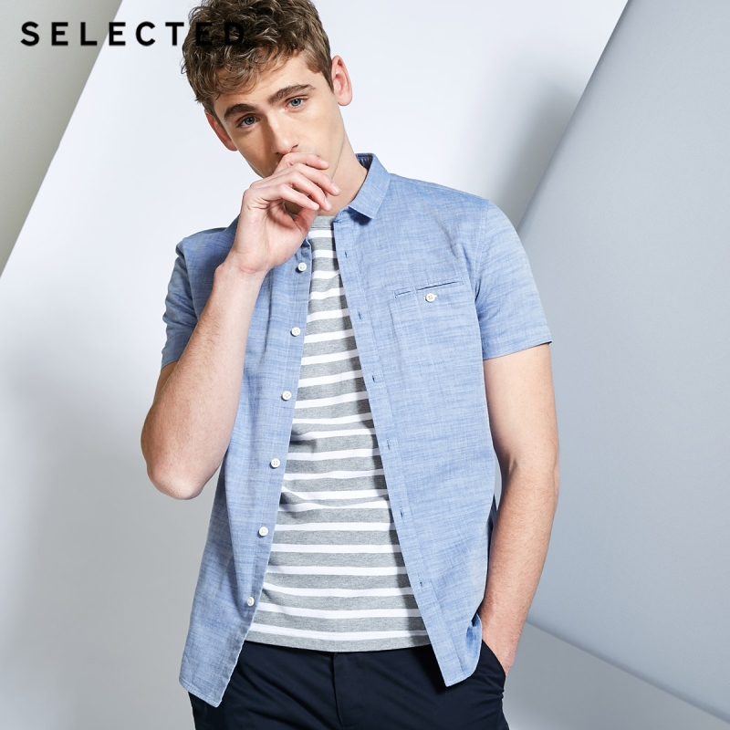 Image 2 - SELECTED Mens 100% Cotton Pure Color Pointed Collar Short sleeved Shirt C418204531Casual Shirts