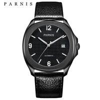 새로운 parnis 38.5mm 자동 기계식 남성용 시계 miyota 사파이어 크리스탈 가죽 남성용 시계 relojes para hombre marca de lujo