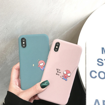 Cartoon Marvel Spiderman Phone Case For iPhone X XS Max XR Cases Cute Soft Silicone Coque For iPhone 7 7 Puls 6 6S 7 8 Puls Capa digital clock