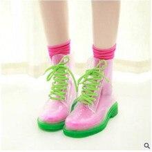 Женский ПВХ прозрачный плоская подошва на шнуровке водонепроницаемая обувь ботильоны резиновые полуботинки со шнуровкой Аква обувь женщин slipproof Водонепроницаемый резиновая