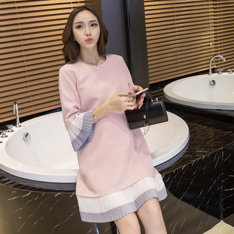 2018 autumn maternity clothing shirt large turn down collar long blouses pregnant clothing plus shirt