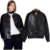 freeshipping bomber jacket women tops 2017spring brand Jacket europen PU leather suede patchwork vintage Bomber jackets female
