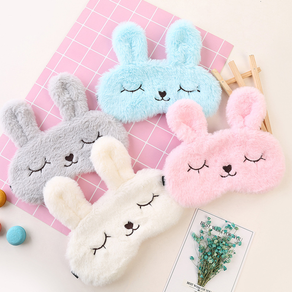 1PC Trendy Cute Plush Animal Eye Cover Sleep Mask Eyepatch Bandage Blindfold Rabbit Cartoon Nap Eye Shade Plush Eye Care Tools