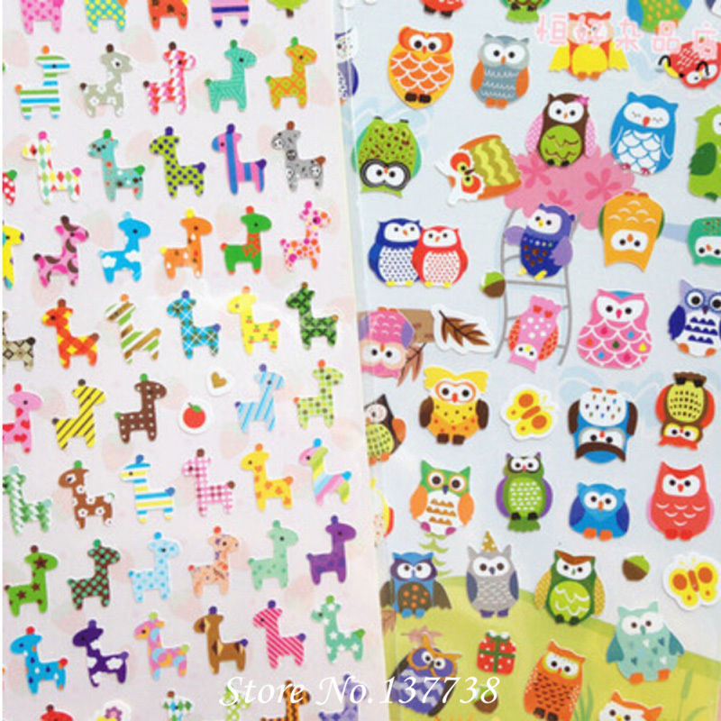 2Pcs lot Owl Giraffe Print Toy sticker Cute Drawing Market Diary Transparent Scrapbooking Calendar Album Deco