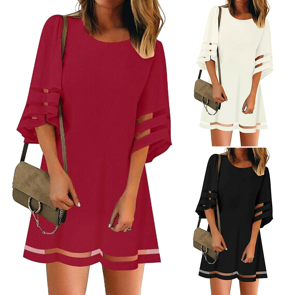 Summer Crew Neck Women Dress Dating A Line Shopping Mini Daily Splice Flare Sleeve Casual Loose Fashion Ladies