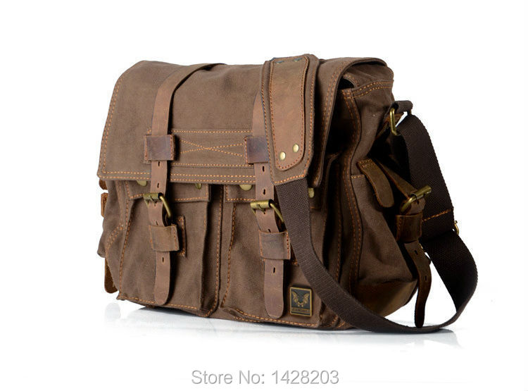 3c598f4e7911 2018 Fashion Vintage Leather Canvas Men s Messenger Bag Cotton Canvas  Crossbody Bag Men Shoulder Bag Sling Casual Bag-in Crossbody Bags from  Luggage   Bags ...