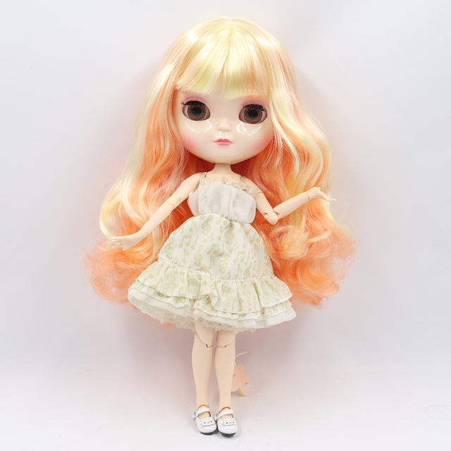 ICY Fortune Days factory doll joint body 30cm white skin Yellow mixed orange curls hair DIY sd gift toy