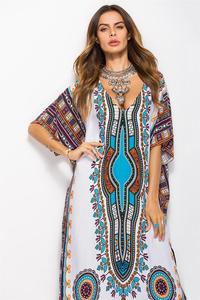 Image 5 - Dubai Maxi Kaftan kadın moda müslüman elbise baskı Vintage kadın plaj yaz Robe büyük boy Arabes çarşaf İslami giyim